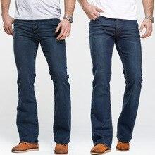 Mens אתחול לחתוך ג ינס מעט מתרחבים Slim Fit מפורסם מותג כחול שחור ג ינס מעצב קלאסי זכר למתוח ג ינס ג ינס