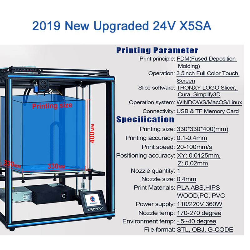 2020 ulepszona drukarka 3D Tronxy X5SA czujnik żarnika duży Plus rozmiar 330*330mm hotbed w całości z metalu ekran dotykowy TFT 3d drukarki