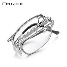 FONEX yüksek kaliteli katlanır okuma gözlüğü erkekler kadınlar katlanabilir presbiyopi okuyucu hipermetrop Diopter vidasız gözlük Lh012