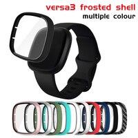 Funda protectora de cristal + funda para Fitbit Versa 3 Sense, carcasa de pantalla para reloj inteligente