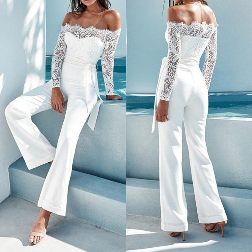 Women Off Shoulder Lace Splice Playsuit Romper Long Flares Trousers Jumpsuit