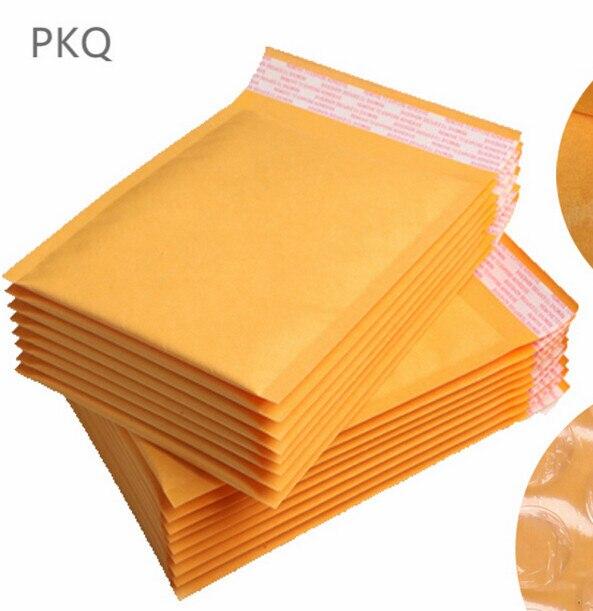 Offre spéciale 30 pièces jaune Kraft mousse enveloppe sac différentes spécifications Mailers rembourré expédition enveloppe avec bulle sac dexpédition