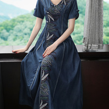 Embroidery Dresses Denim Short-Sleeve V-Neck Long Maxi Chinese-Style Vintage Women Summer