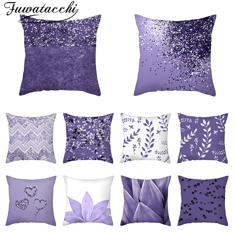 Fuwatacchi Geometric Purple Cushion Cover Flower Petal Pillow Cover For Home Sofa And Seat Decorative Throw Pillow Cases 45x45cm