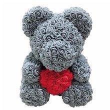Adorável grande rosa vermelha flor urso brinquedos ornamentos presentes para o dia dos namorados 25cm aug889