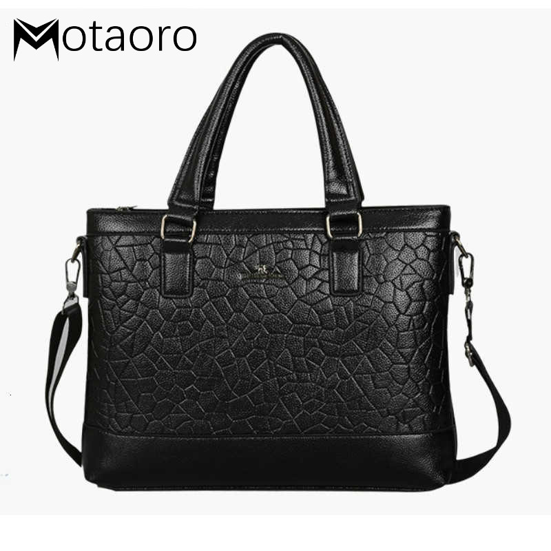 Leather Laptop Briefcase Men Business Black Casual Computer Bag Men's Tote Bags Brown High Quality Male Business Large Capacity