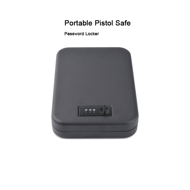 Portable Pistol Safe Mini Password Lock Gun Box Car Security Box Storage Box Valuables Cash Jewelry Safe Ammo Box Gun Safes
