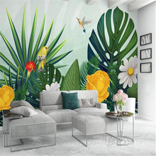 Milofi custom 3D large wallpaper wallpaper medieval hand-painted tropical forest color parrot background wall painting