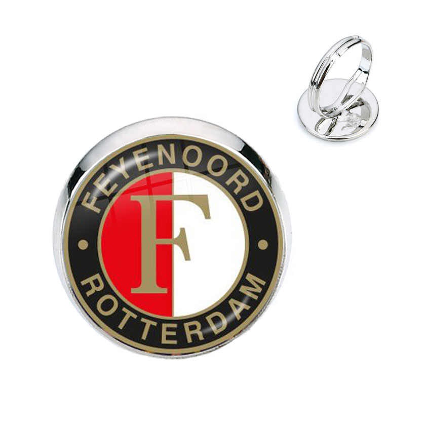 Feyenoord Rotterdam Football Club 16mm Glass Cabochon Rings Football Leagues Logo Soccer Club Ring For Fans Gift