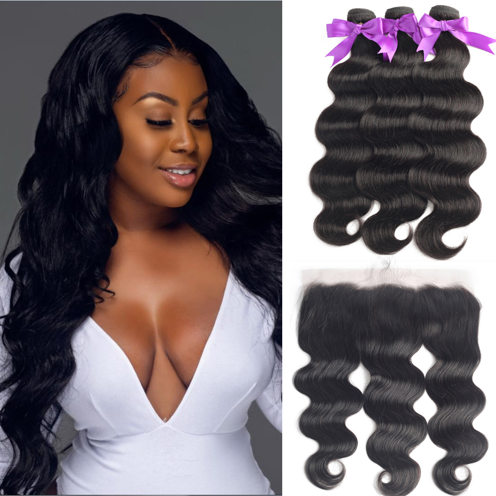 Malaysia Body Wave Human Hair Bundles With Transparent Lace Frontal Double Weft With 13X4 Lace Frontal PrePlucked With Baby Hair