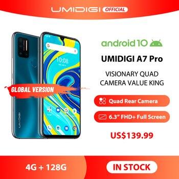 """UMIDIGI A7 Pro 6,3 """"FHD + Pantalla Completa Quad Cámara Android 10 4G + 128GB ROM LPDDR4X Octa Core versión Global teléfono móvil 4150mAh"""
