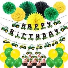 Desenhos animados tema do carro festa livre decorações conjunto crianças meninos pendurado feliz aniversário banner vitalidade trator verde chuveiro do bebê suprimentos