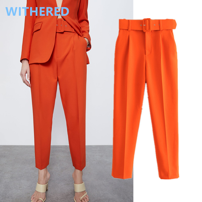Withered England Style Simple Multicolor Solid Sashes Straight Suits Pants Women Pantalones Mujer Pantalon Femme Trousers Women
