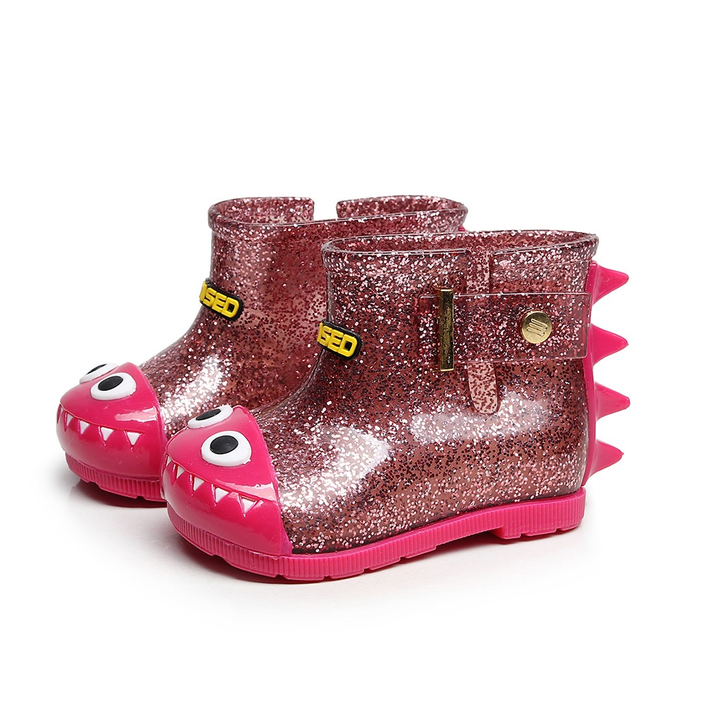 Children Infant Kids Baby Dinosaur Waterproof Rain Boots Booties Casual Shoes Animal Prints Buckle Strap Rubber Baby Bling Shoes
