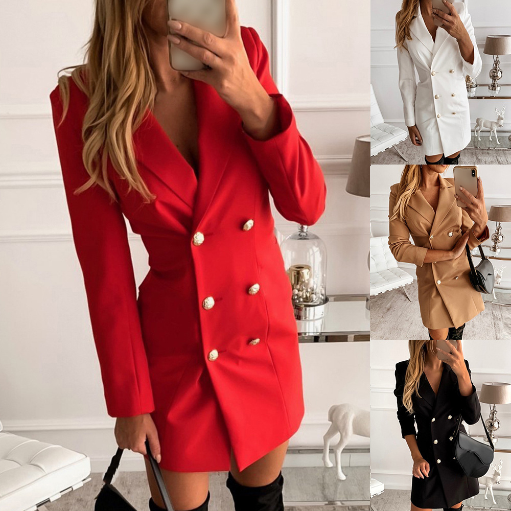 NIBESSER Office Formal Dress Womens Double Breasted Button A-Line Mini Dresses Women Spring Long Sleeve Suit Dress  Vestidos