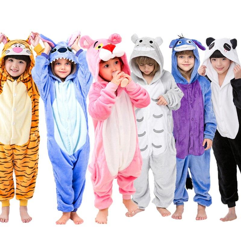 Flannel Children Pajamas Set Winter Hooded Animal Unicorn Pikachu Stitch Kids Kigurumi Pajamas For Boys Girls Sleepwear Onesies