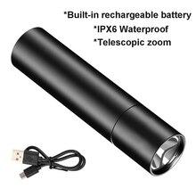 USB аккумулятор мини светодиод фонарик XPE телескопический зум IPX6 водонепроницаемый 3 освещение режим высокий мощность светодиод фонарики самооборона