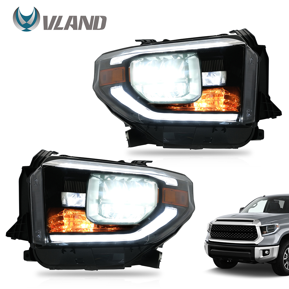 VLAND Headlamp Car Headlights Assembly For Toyota Tundra 2014 2015 2017-2020 Head Light With Moving Turn Signal Dual Beam Lens