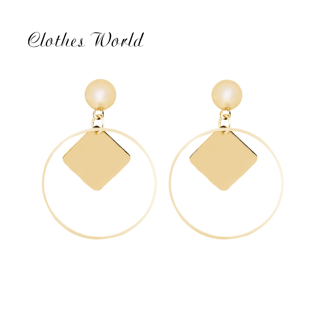 Studs circles gold plated gift girl ladies for you girlfriend bridal wedding bridal jewelry engagement geometric round