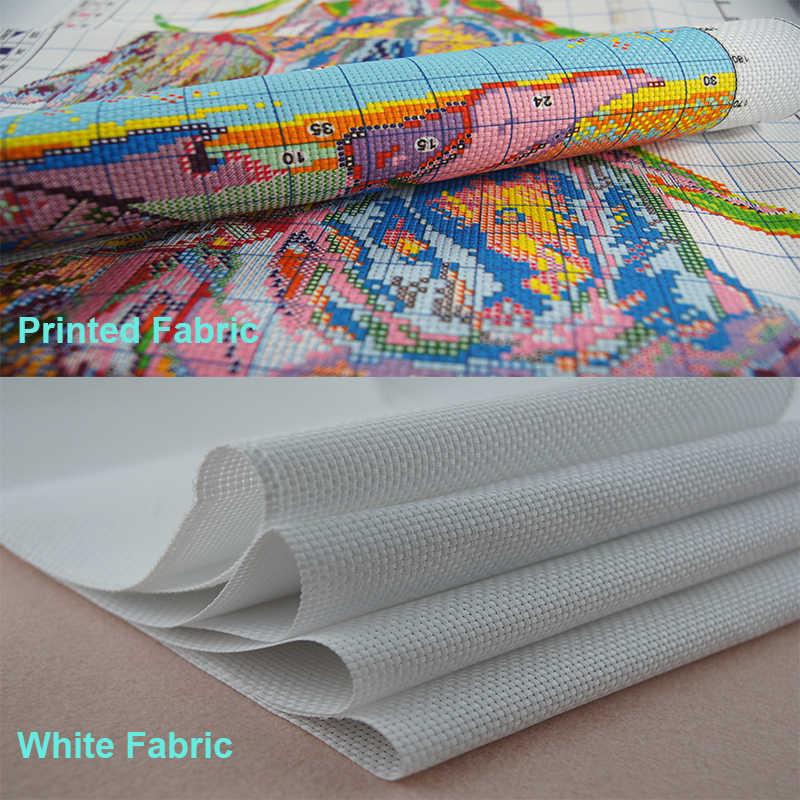 Tissu imprimé à points de croix avec des chats | Tissu brodé en fil de coton 11CT 14CT bricolage, ensembles d'aiguilles en fil de coton cousu croisé