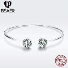 BISAER Authentic 925 Sterling Silver Tree of Life Tree Leaves Crystal Femme Cuff Bangle for Women Sterling Silver Jewelry GXB057 eudora 925 sterling silver tree of life necklace cloud tree pendant fortitude design jewelry for women happy birthday gift d449