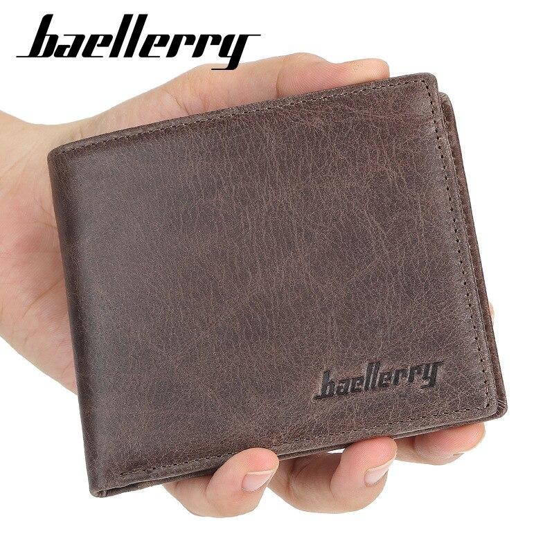 2019 Baellerry Genuine Cow Leather Men Wallets High Quality Short Desigh Card Holder Male Purse Vintage Photo Holder Men Wallets