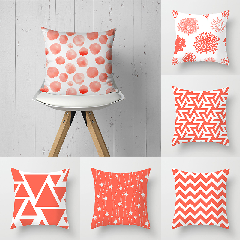 Living Coral Color Throw Pillow Case Geometry Circle Starfish Cushion Covers For Home Sofa Chair Decorative Pillowcases Set Pillow Case Aliexpress