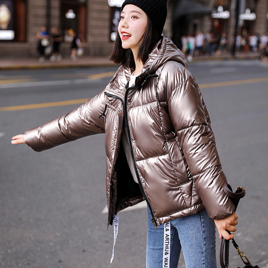 Sexy Hooded Glossy Down Coat Women Winter Casual Thick Warm Down Jacket Female Punk Streetwear Cotton Coat Vogue Reflective Coat