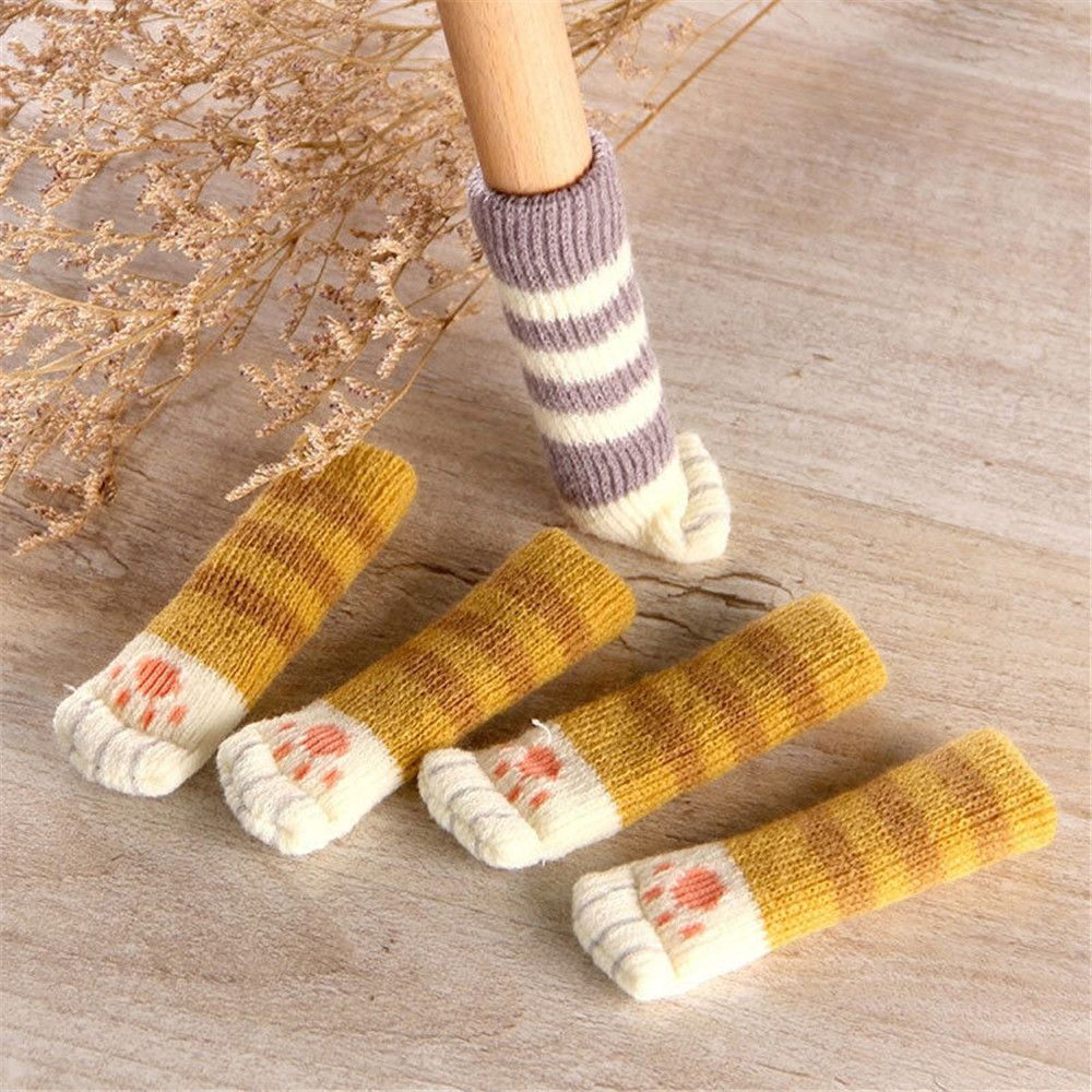 4pcs Knit Cat Paw Table Chair Foot Leg Cover Sock Knit Chair Foot Cover Chair Leg Paws Socks Cloth Anti-slip Chair Legs Cover