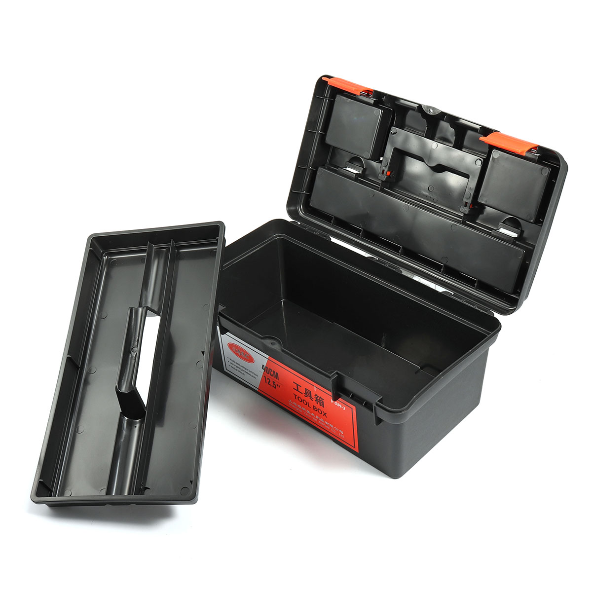 16 Inch Work Tools Storage Box Organizer Handle Tray Holder Plastic Toolbox Protable Container 2 Layers Tools Case Detachable