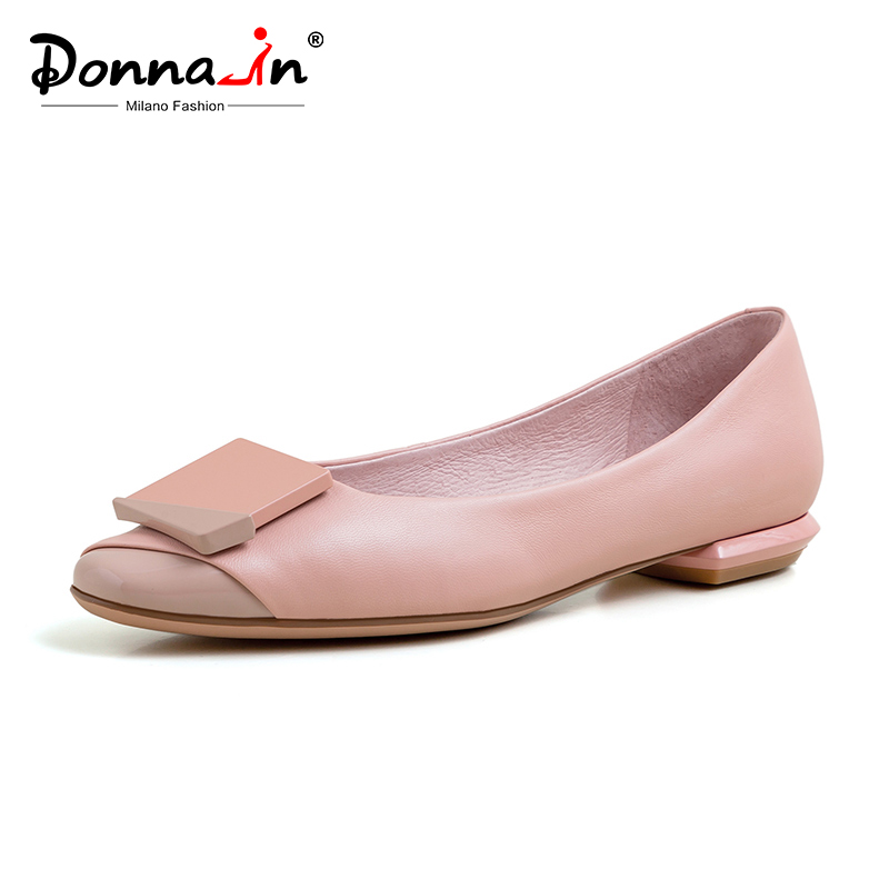 Donna-in Shallow Ballet Flats Women Genuine Leather Slip-on Ballerina Flats Spring 2020 Geometric Casual Comfortable Lady Shoes