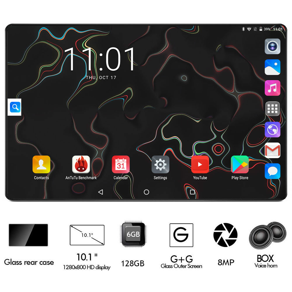 2020 Black 6GB RAM 128GB ROM Gaming Tablet Octa Core 10 Inch 8MP 1280x800 Full Screen Dual 2.5D Glass WIFI 4G FDD LTE Phone Pad