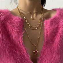 Luokey Long Bohemian Necklace For Women Gold Color Moon Hexagram Vintage Ethnic Choker Necklaces Charm Jewelry Collier Wholesale vintage multilayer pendant necklaces for women butterfly moon star charm gold choker necklace bohemian jewelry party