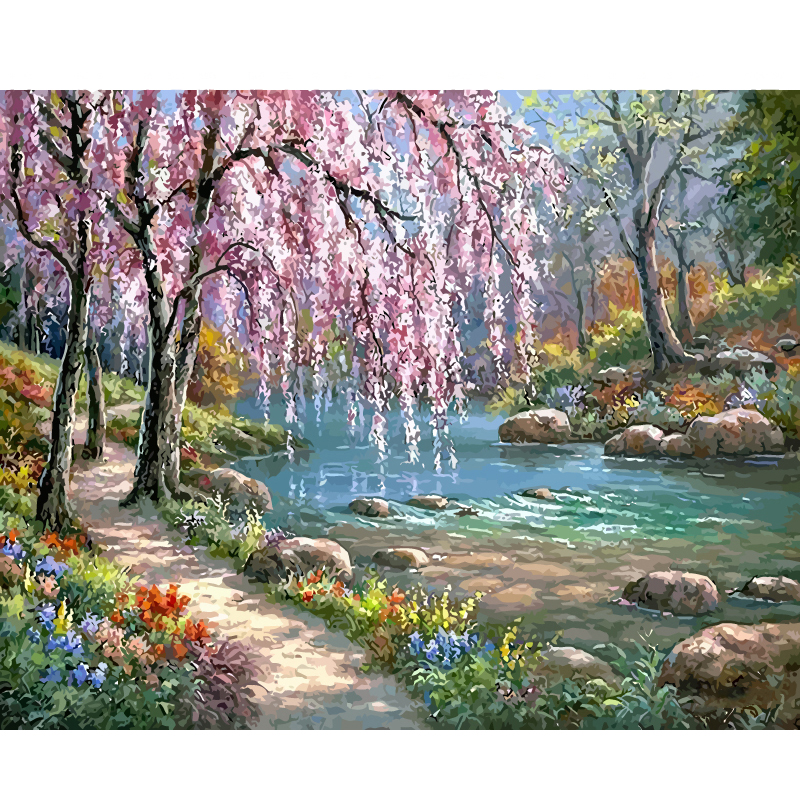 Frame Rivers Painting By Numbers For Adults Kits Landscape Acrylic DIY Oil Painting On The Wall Art Pictures Draw On Canvas Coloring By Number Modern Home Decoration Unique Gift