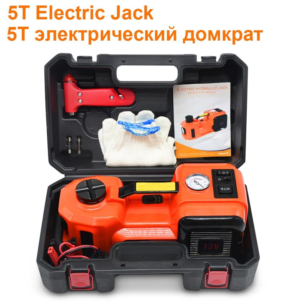 5T Car Jack Lifting DC 12V Electric Jacks 5 Tons Maximum Load-bearing With LED Light Tire Air Pump Auto Repair Tools Set