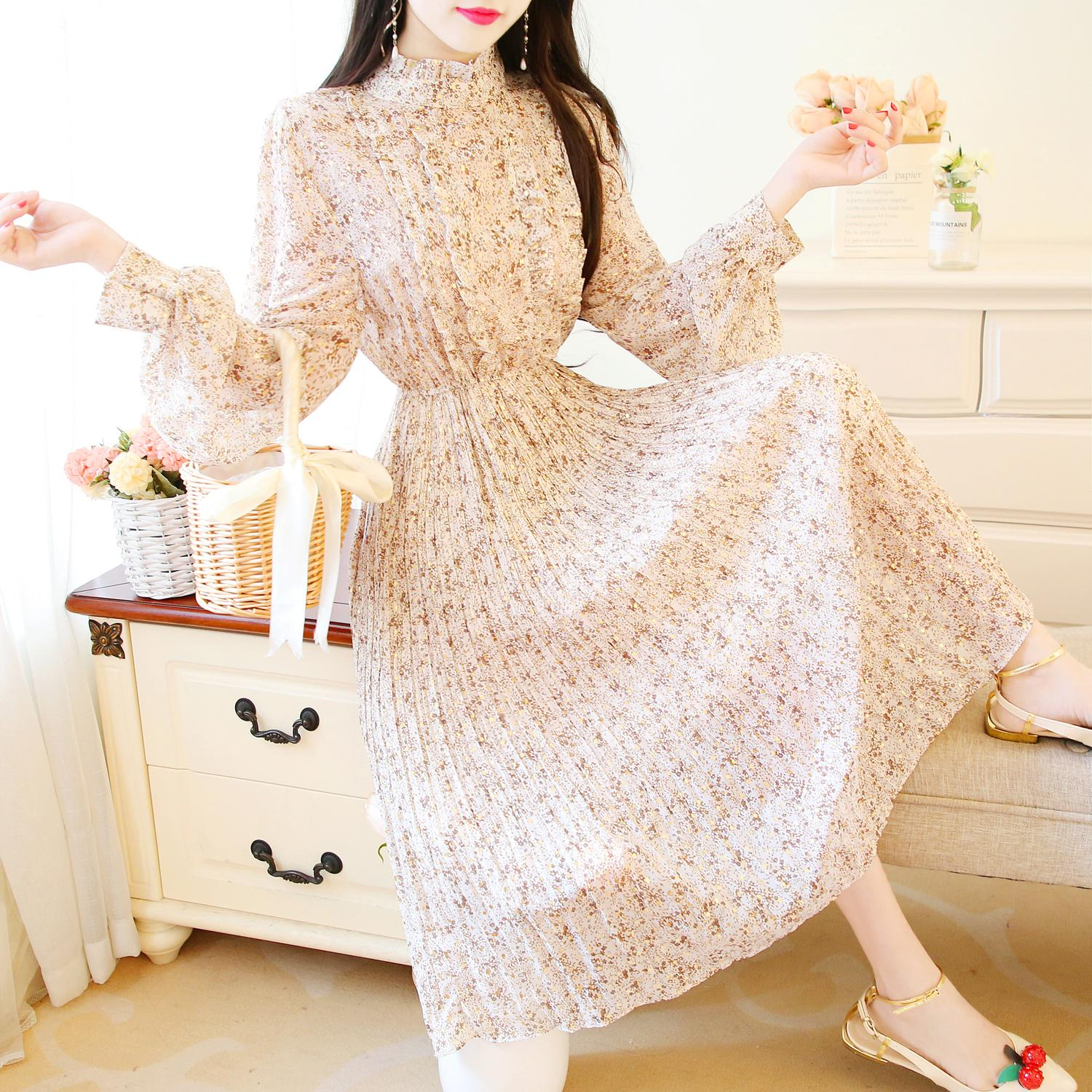 2020 Spring Chiffon Pleated Floral Stand Collar Mid Calf A-Line Dress Empire Elegant Women Long Puff Sleeve Dress Party Vestidos