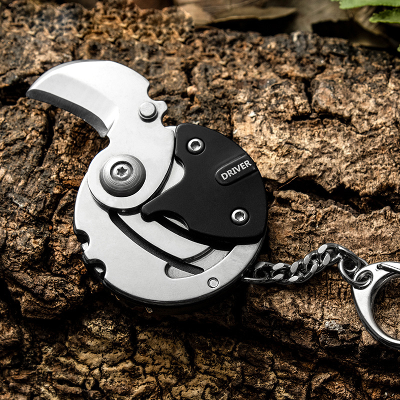 Multi Functional Pocket EDC Tools Coin Knife with Screw Driver for Camping and Travel(China)