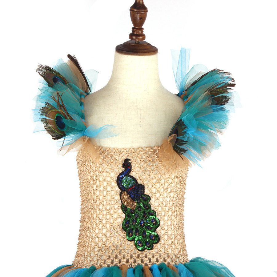 LIMITED EDITION Luxury Girls Peacock Tutu Dress with Matching Headband Multi-layer Kids Pageant Tulle Ball Gowns Peacock Costume (9)