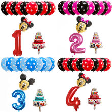 13pcs Mickey Minnie Mouse balloon 30 inch number latex balloons cake baby shower 1 2 3 4 5 6st Birthday party Cartoon Decoration(China)