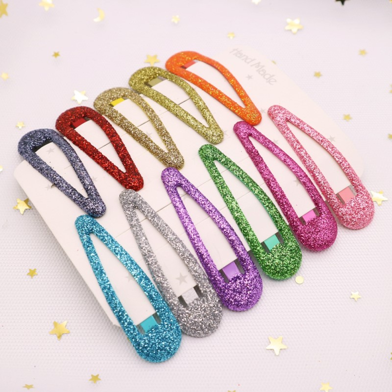 20Pcs/Lot Princesss Hair Accessories Glitter Hair Clips Pins Candy Color Barrettes For Girls Metal Snap Shiny Powder Headdress