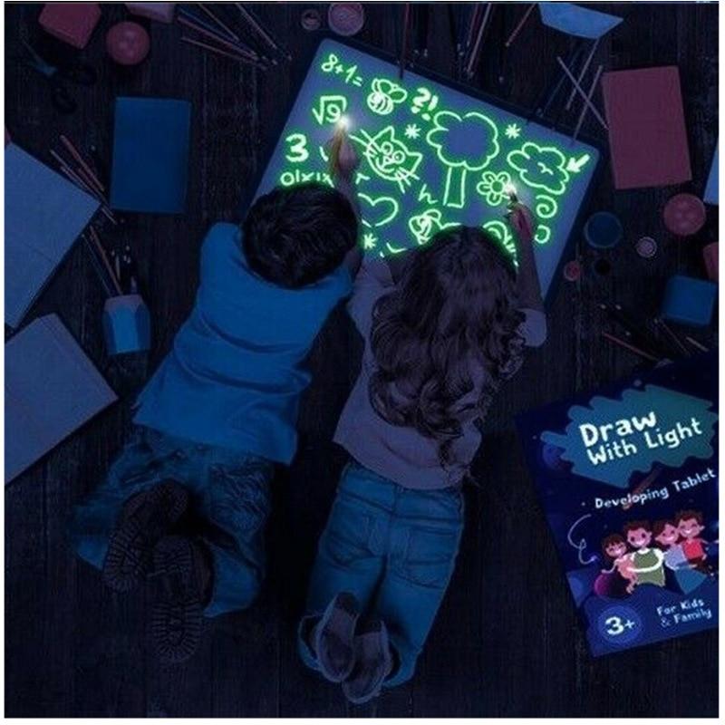 СВЕТОДИОДНЫЙ световой чертежная доска для рисования граффити живопись планшеты Magic рисовать светильник-веселые флуоресцентных ручек Разв...