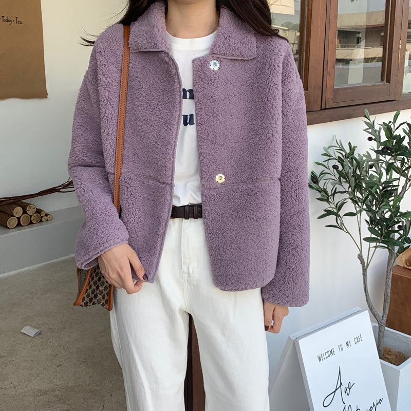 HziriP Romantic Lavender Gentle Office Lady Warm Fashion Soft 2020 Chic Autumn Elegant Fresh Women High Quality Wool Coats