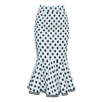 Polka Dot Mermaid Skirt Women High Waist Sheath Slim Hip Package Bodycon Ruffle Skirt Office Wear Korean Style Casual Midi Skirt