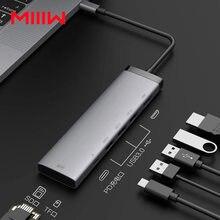 MIIIW-concentrador de red USB C 7 en 1, adaptador con 4K, 100W, entrega de energía, 3 USB 3,0, MicroSD y lector de tarjetas SD para MacBook Air