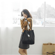 Fashion Women Bag Corduroy Tote Ladies Casual Solid Color Shoulder Bag Foldable Reusable Women Shopping Beach Bag