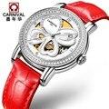 Relogio masculino Швейцария Carnival модные Tourbillon женские часы люксовый бренд 30 м водонепроницаемые автоматические часы женские серебряные
