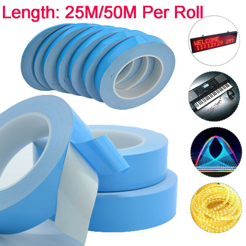 25m Heat Adhesive Tape Double Sided Transfer Heat Tape Thermal Conductive Adhesive Tape For PCB CPU LED Strip Light Heatsink