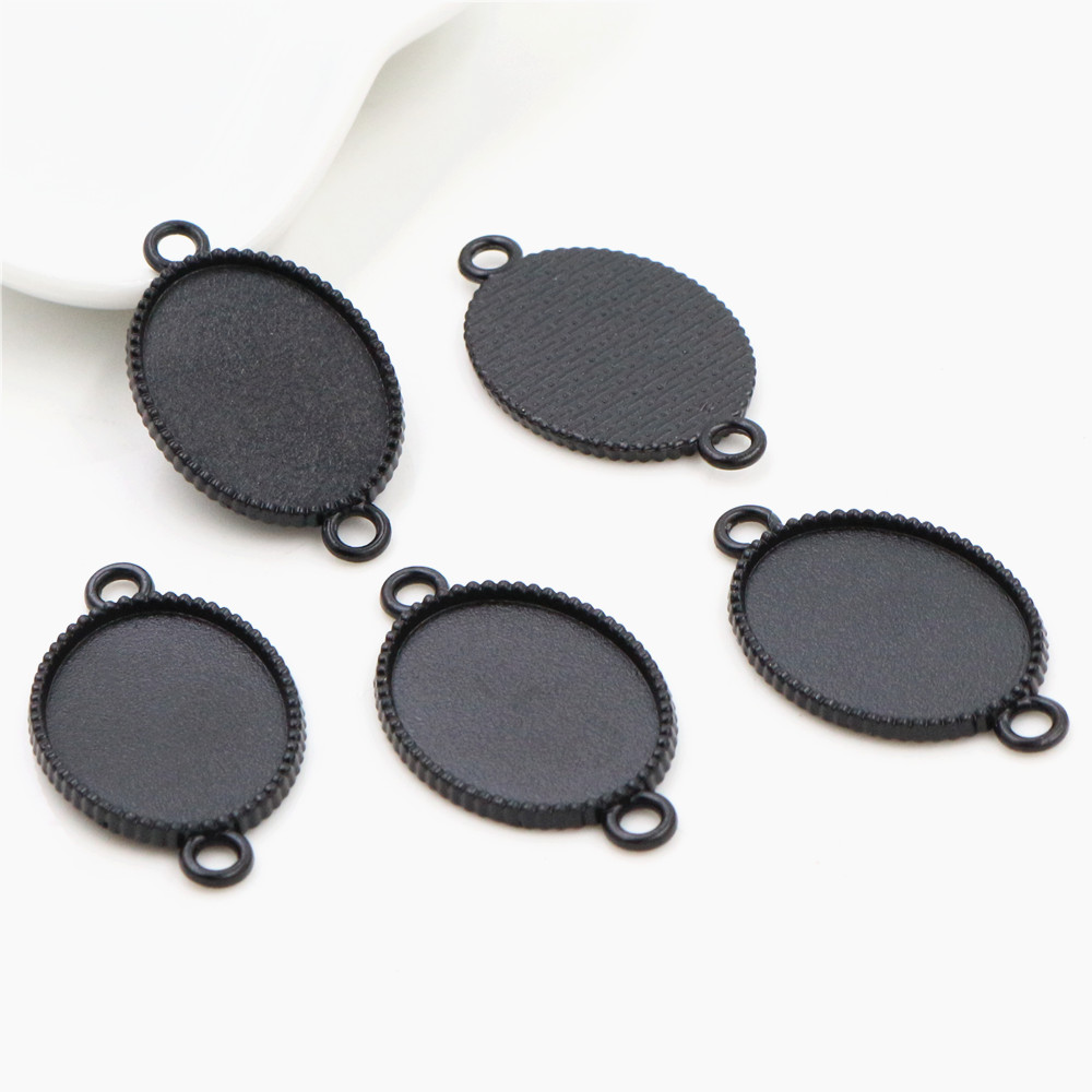10pcs 18x25mm Inner Size Black Classic Style Cameo Cabochon Base Setting Charms Pendant Necklace Findings  (C1-09)