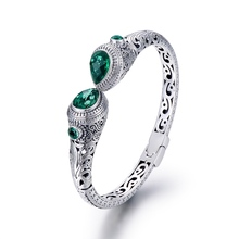 Vintage 925 Thai Silver Bracelet Bangles With Emerald Stone Handmade Hollow Carve Patterns Bangle Original Design  Jewelry Women