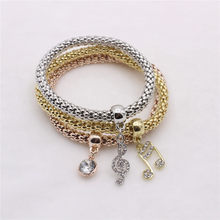 3pcs Stylish Corn Chain Clear Crystal Music Note Dangle Multilayer Bracelet(China)